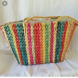Capelli straw world rainbow straw beach bag tote